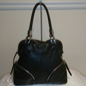 B Makowsky Black Leather Dome Satchel Handbag
